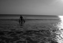 Plongeur sortant des eaux